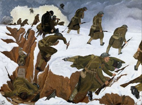 1280px-Nash,_John_(RA)_-_'Over_The_Top'._1st_Artists'_Rifles_at_Marcoing,_30th_December_1917_-_Google_Art_Project